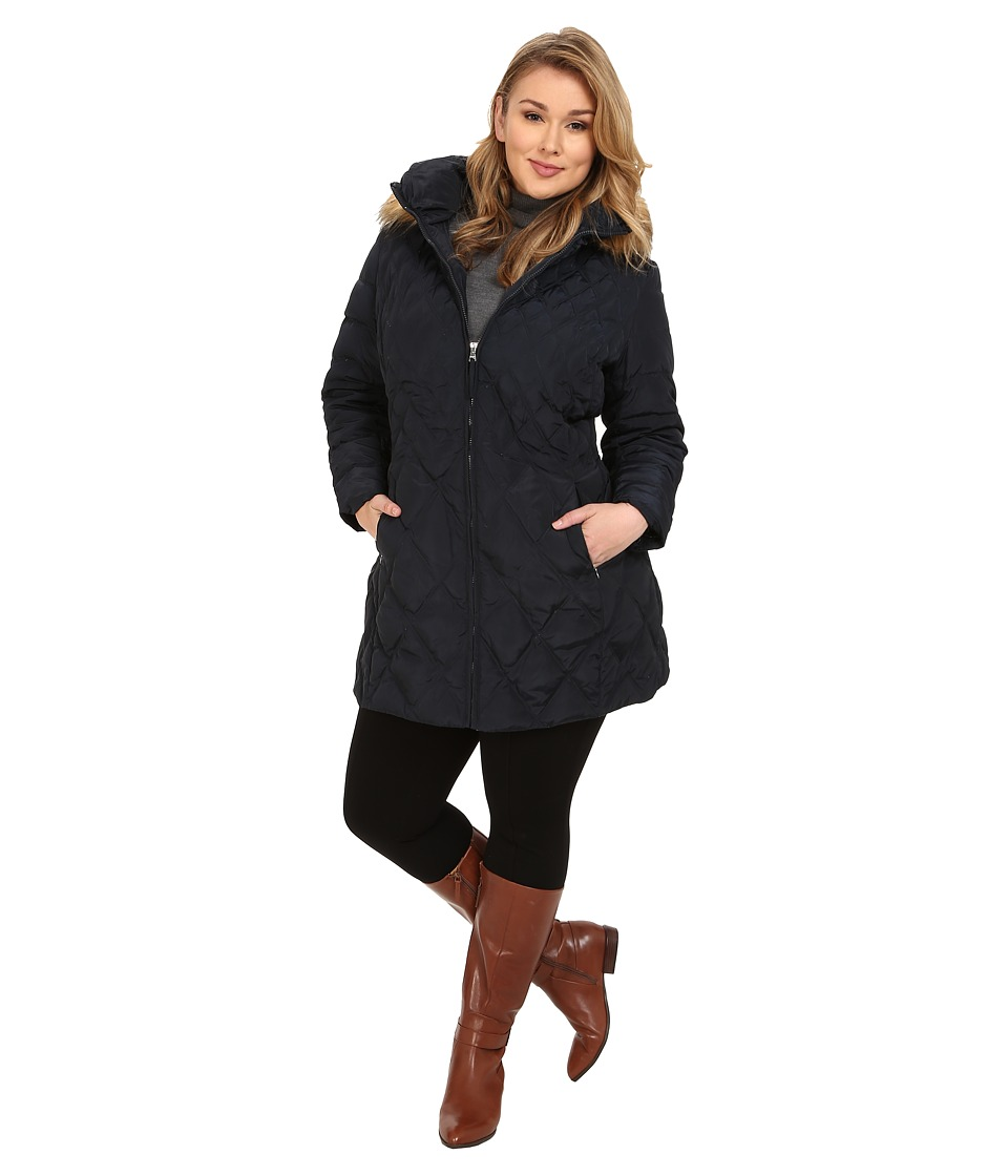 Jessica Simpson - Plus Size Quilted Down with Faux Fur Trimmed Hood (Navy) Women