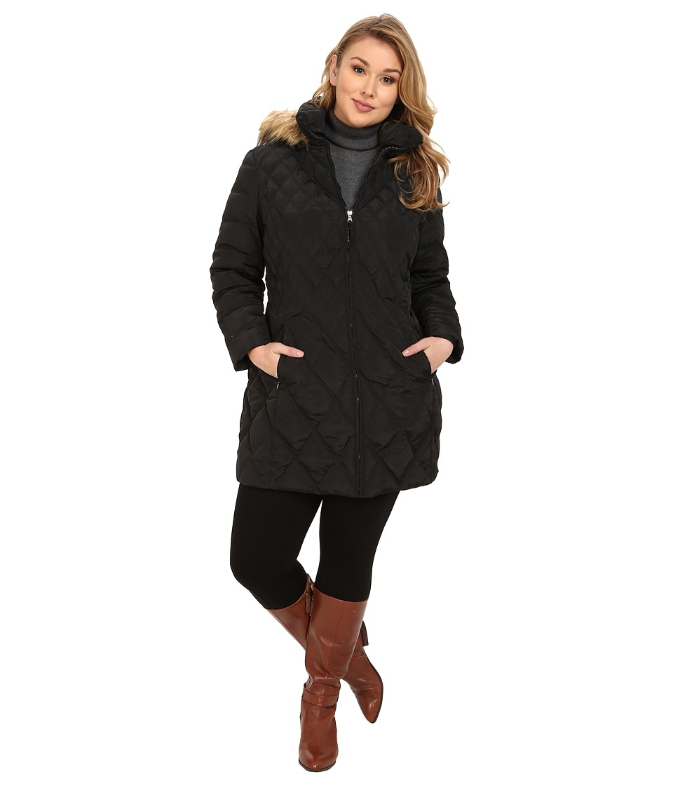 Jessica Simpson - Plus Size Quilted Down with Faux Fur Trimmed Hood (Black) Women's Clothing