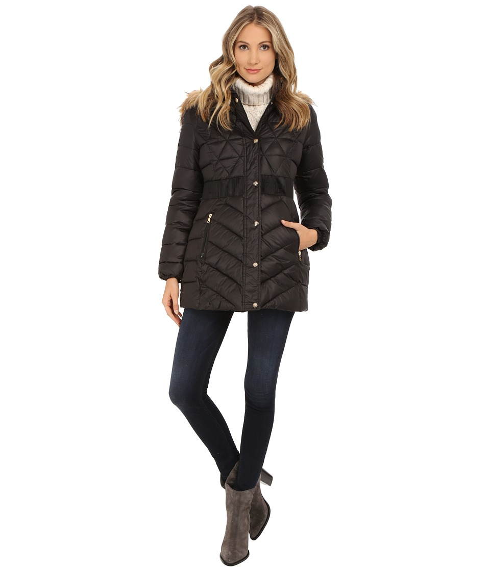 Jessica Simpson - Anorak Polybonded with Hood (Black) Women's Coat