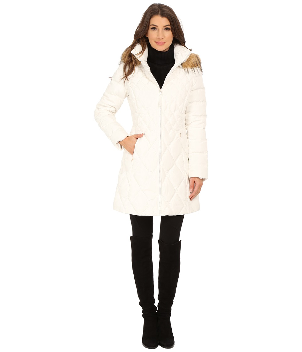 Jessica Simpson - Quilted Down with Faux Fur Trimmed Hood (Ivory) Women's Clothing