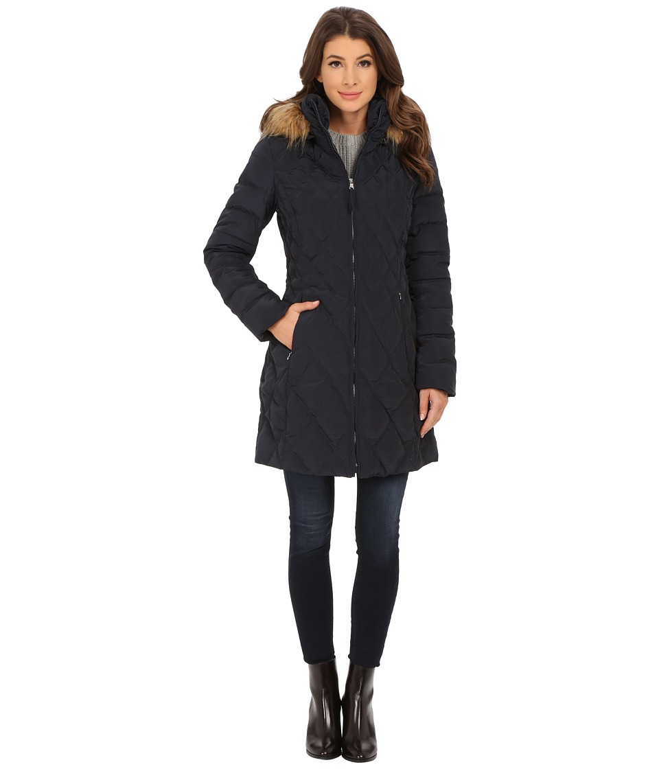 Jessica Simpson - Quilted Down with Faux Fur Trimmed Hood (Navy) Women