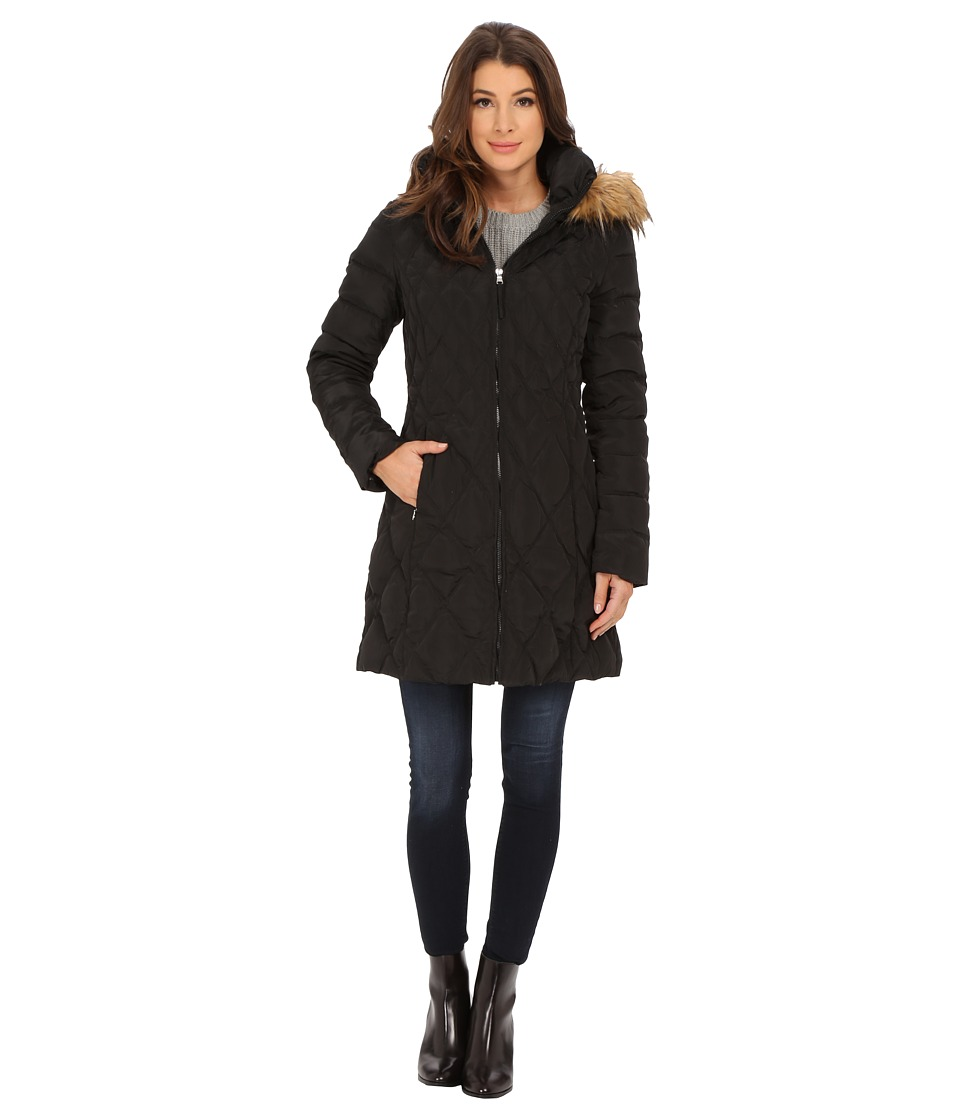Jessica Simpson - Quilted Down with Faux Fur Trimmed Hood (Black) Women