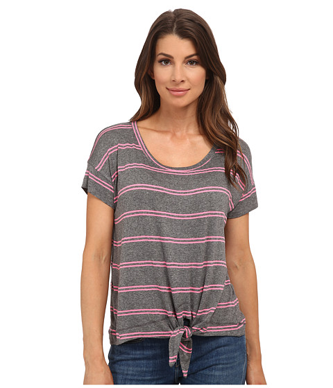 Splendid - Canvas Double Stripe Tie Front Top (Heather Grey/Neon Pink) Women's Clothing