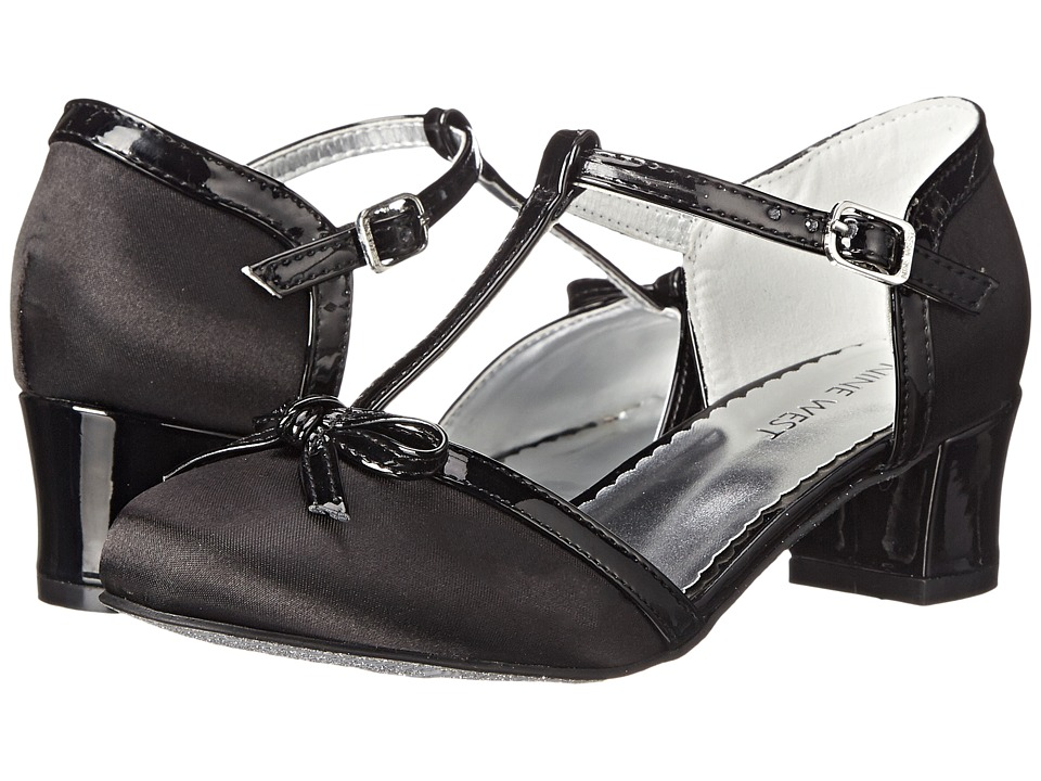 Nine West Kids - Paula (Little Kid/Big Kid) (Black Satin) Girls Shoes