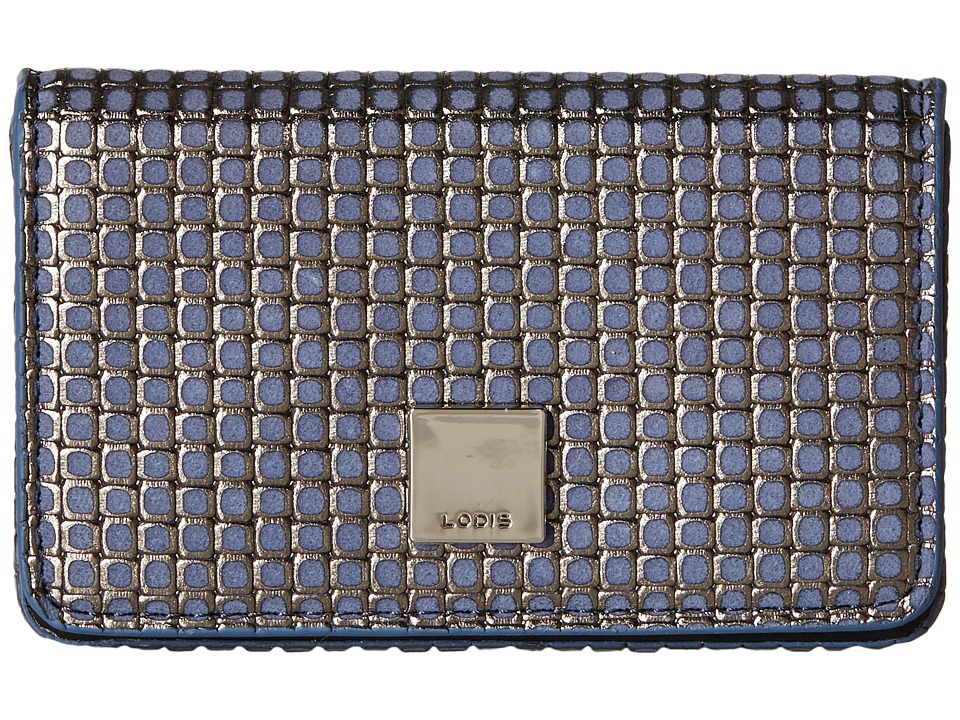 Lodis Accessories - Sophia Woven Mini Card Case (Navy/Silver) Credit card Wallet