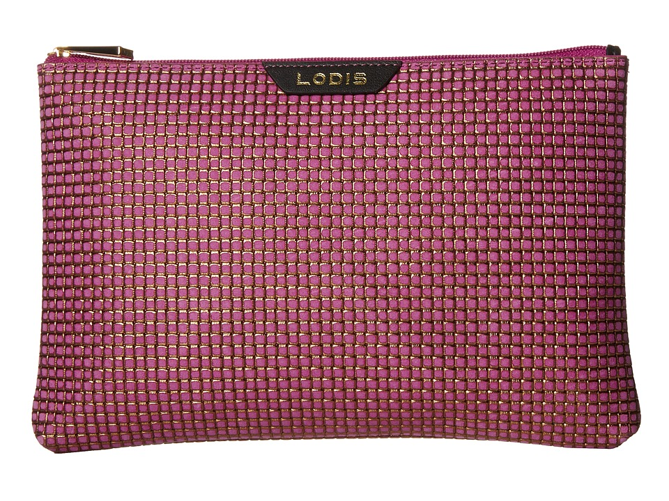 Lodis Accessories - Sophia Woven Flat Pouch (Plum/Gold) Wallet Handbags
