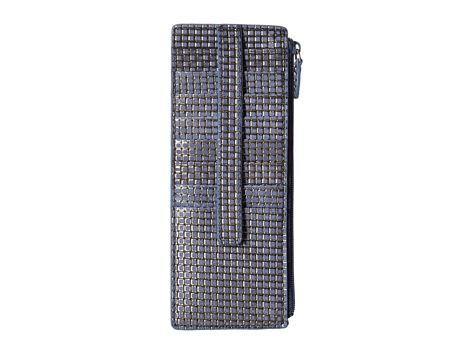 Lodis Accessories - Sophia Woven Credit Card Case with Zipper Pocket (Navy/Silver) Credit card Wallet