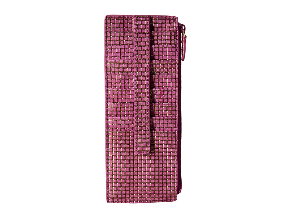 Lodis Accessories - Sophia Woven Credit Card Case with Zipper Pocket (Plum/Gold) Credit card Wallet