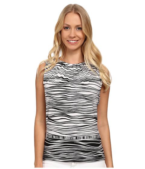 Calvin Klein - Wavey Striped Printed Pleat Neck Cami (Black/White) Women's Sleeveless