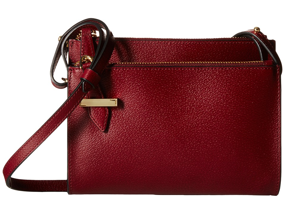 Lodis Accessories - Stephanie RFID Under Lock Key Trisha Double Zip Wallet on a String (Burgundy) Cross Body Handbags