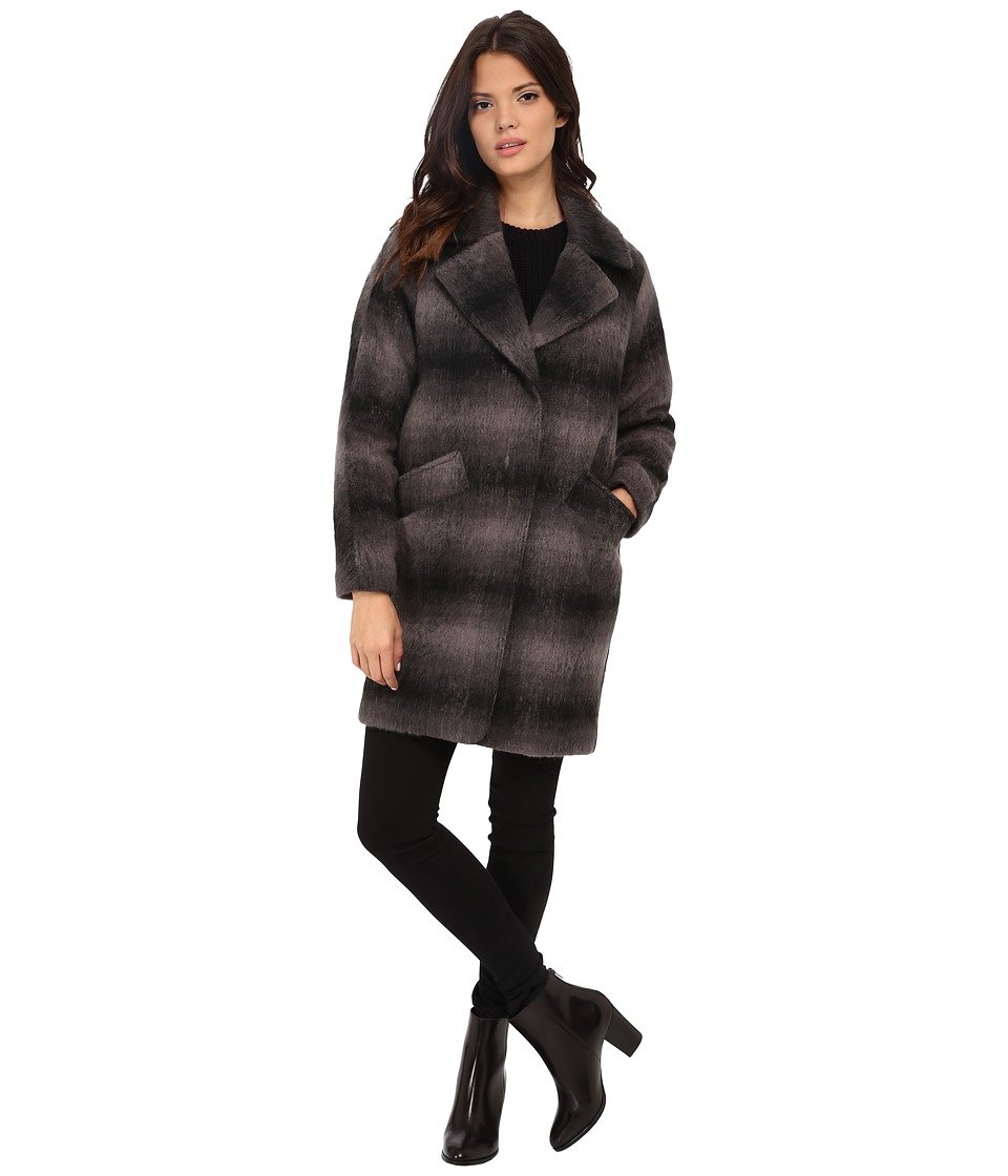 Marc New York by Andrew Marc - Emma 34 Brushed Shadow Plaid Single Breasted (Plaid) Women's Coat