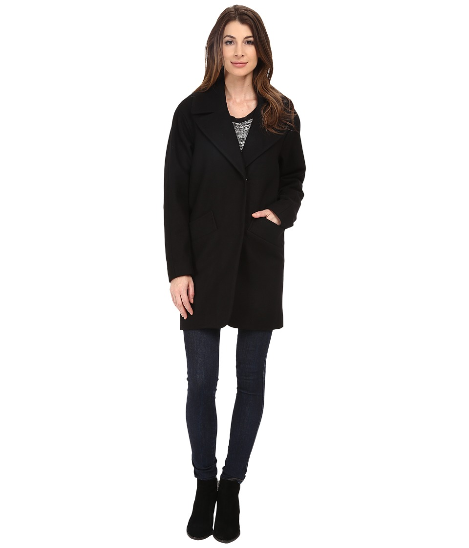 Marc New York by Andrew Marc - Wendy 34 Wool Melton Single Breasted (Black) Women's Coat