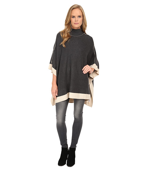 Splendid - Saddle Sweaters Poncho (Heather Charcoal/Camel) Women's Sweater