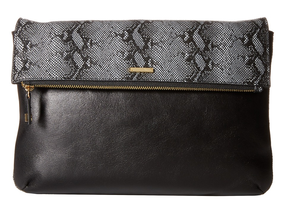Lodis Accessories - Vanessa Snake Valerie Convertible Clutch (Black) Clutch Handbags