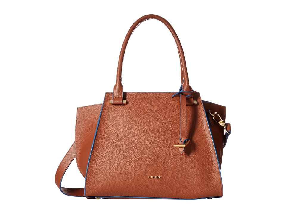 Lodis Accessories - Zoey Karly Satchel (British Tan/Cobalt) Satchel Handbags