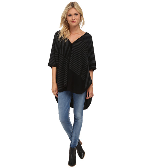 Splendid - Op-Art Sweater Poncho (Black/Heather Charcoal) Women's Sweater