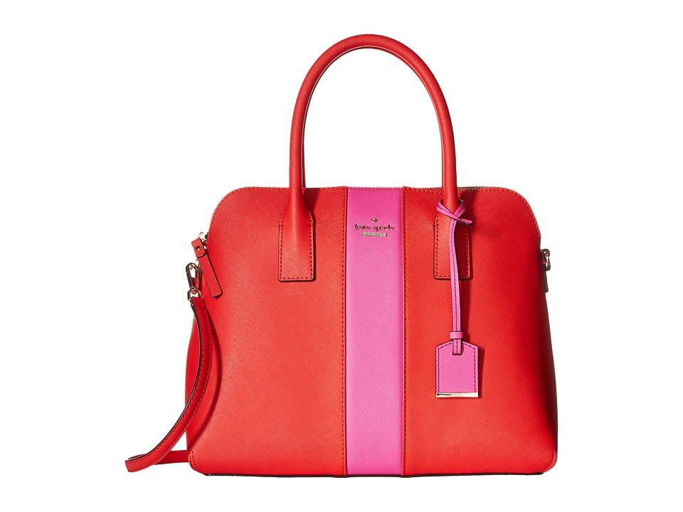 Kate Spade New York - Cameron Street Racing Stripe Margot (Cherry Liquer/Vivid Snapdragon) Satchel Handbags