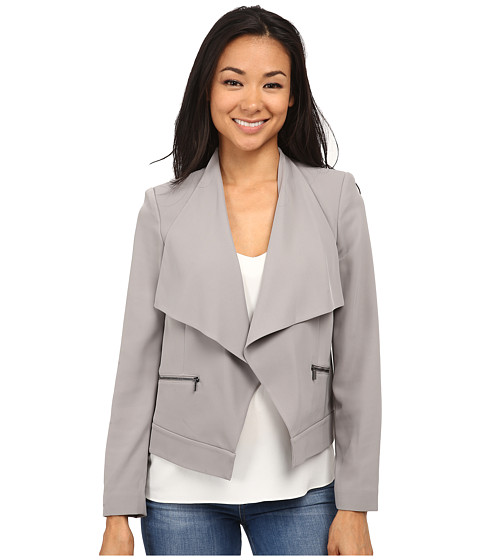 Calvin Klein - Open Soft Suit Jacket w/ Zipper Detail (Moonlight) Women's Coat