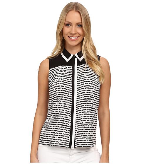Calvin Klein - Striped Color Block Button Front Blouse (Black/White) Women's Blouse