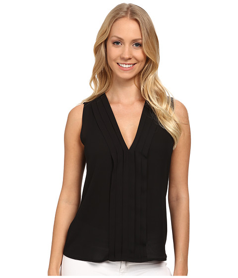 Calvin Klein - Sleevless V-Neck Blouse (Black) Women's Blouse