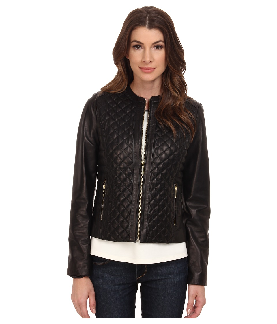 Cole Haan - Collarless Moto Diamond Quilted Leather Jacket (Black) Women's Coat
