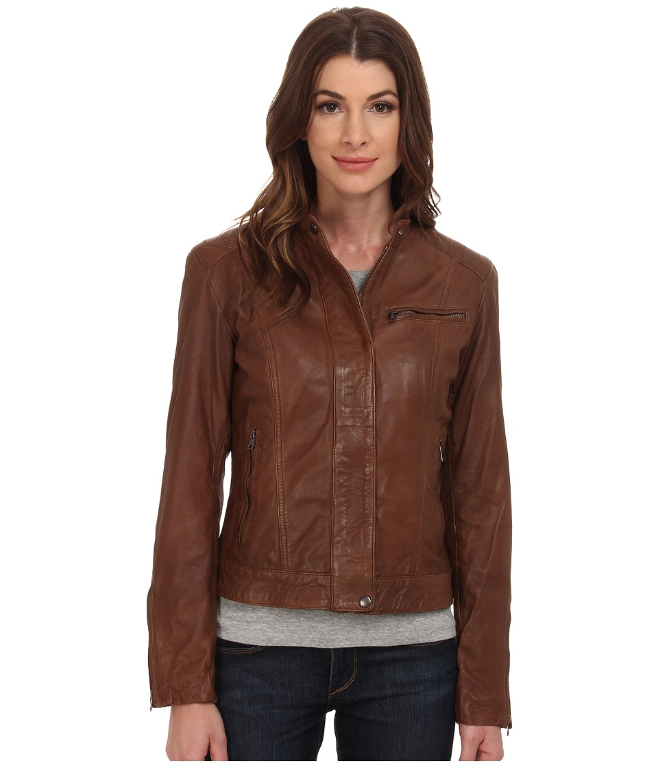 Cole Haan - Washed Leather Racer Jacket (Harvest Brown) Women's Coat