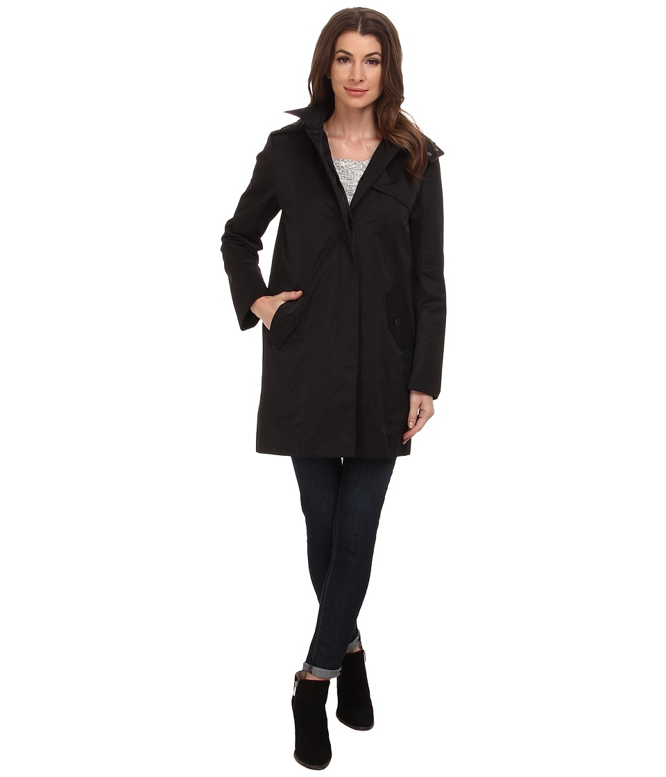 Cole Haan - Single Breasted A-Line Raincoat (Black) Women's Coat