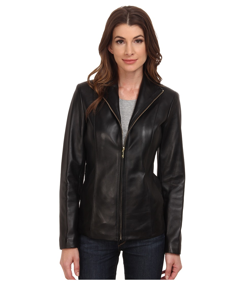 Cole Haan - Wing Collar Leather Jacket (Black) Women's Coat