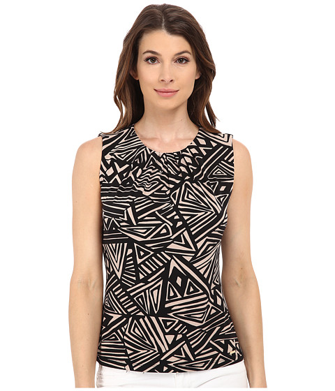 Calvin Klein - Aztek Printed Pleat Neck Cami (Black/Khaki) Women's Sleeveless