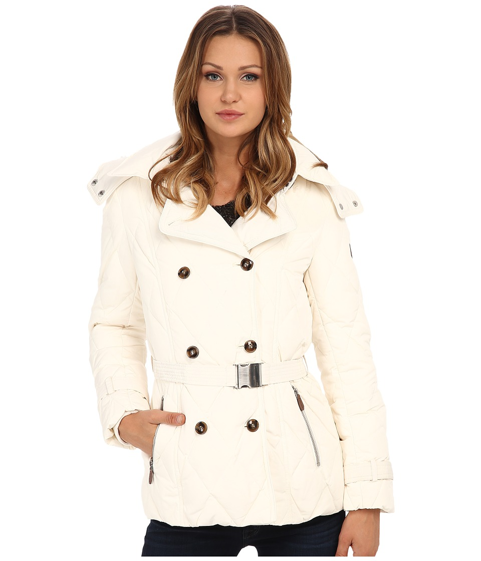 Cole Haan - Down Peacoat with Removable Hood (White) Women's Coat