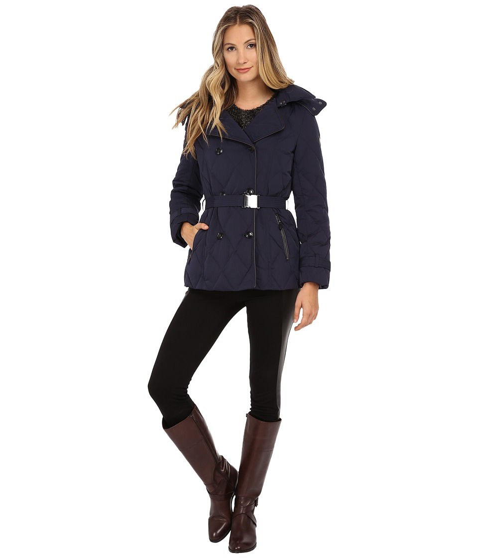 Cole Haan - Down Peacoat with Removable Hood (Blazer Blue) Women