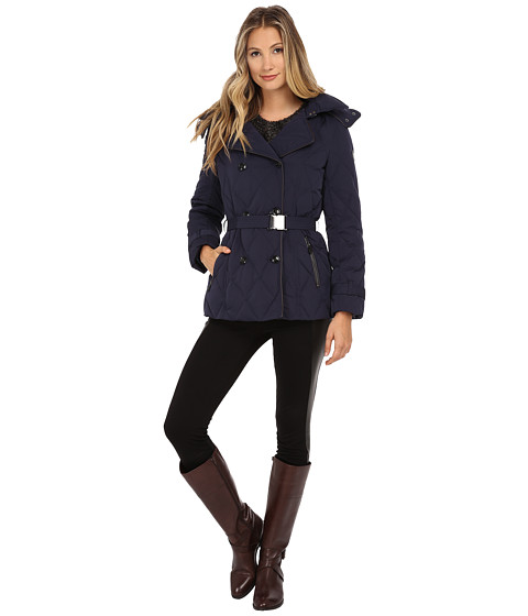 Cole Haan - Down Peacoat with Removable Hood (Blazer Blue) Women's Coat