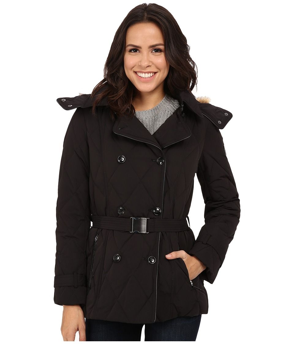 Cole Haan - Down Peacoat with Removable Hood (Black) Women's Coat