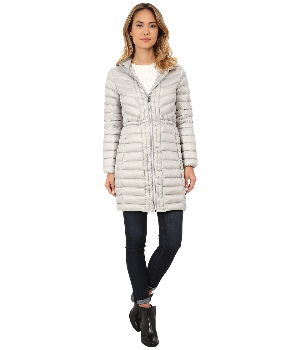 Cole Haan - Chevron Quilted Hooded Single Breasted Lightweight Packable Down (Silver) Women's Coat