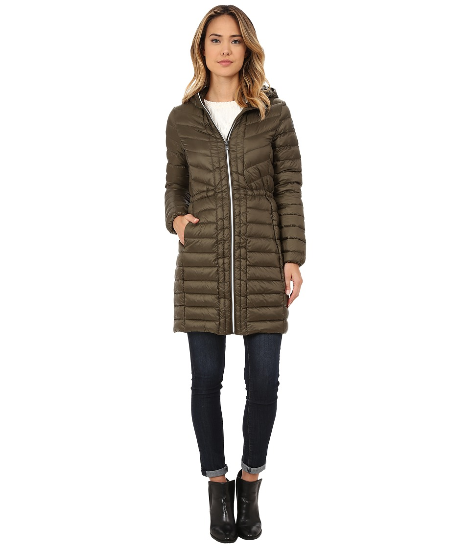 Cole Haan - Chevron Quilted Hooded Single Breasted Lightweight Packable Down (Olive) Women's Coat