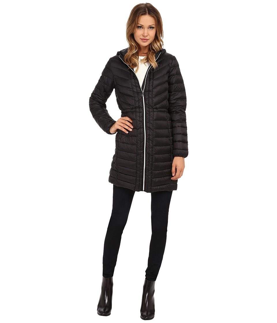 Cole Haan - Chevron Quilted Hooded Single Breasted Lightweight Packable Down (Black) Women's Coat