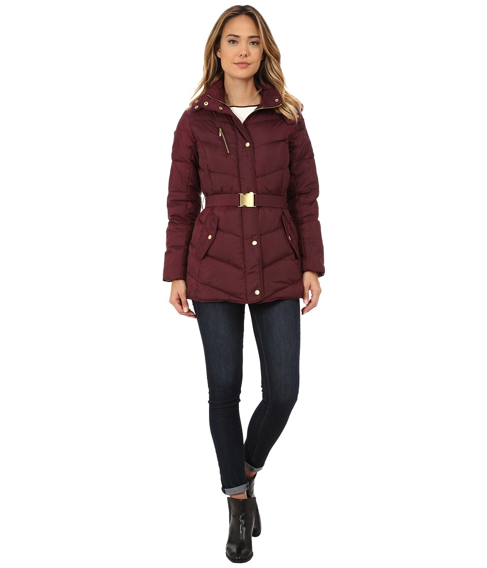 Cole Haan - Single Breasted Down Jacket with Chevron Quilt (Plum) Women's Coat