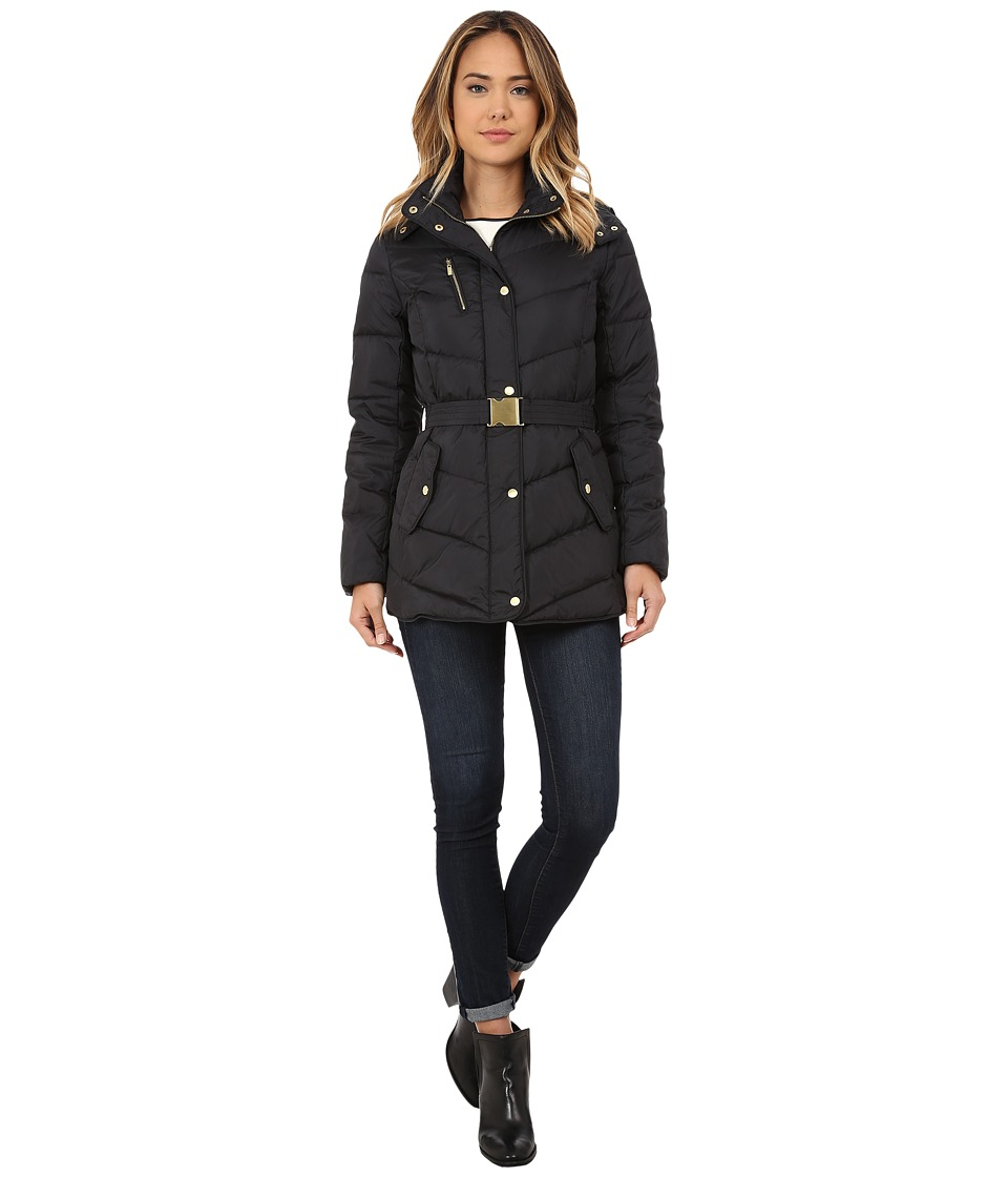 Cole Haan - Single Breasted Down Jacket with Chevron Quilt (Black) Women's Coat