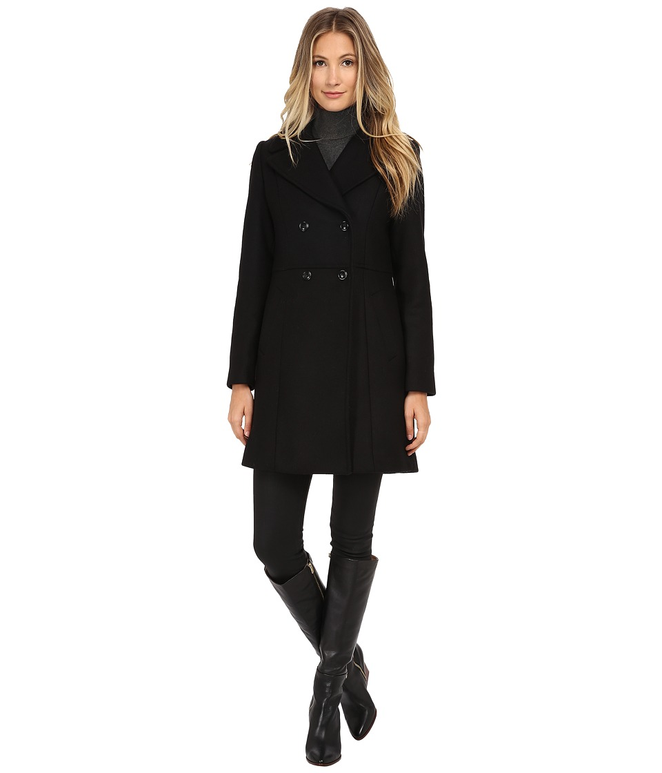 Cole Haan - Double Breasted Coat with Knotch Collar (Black) Women's Coat