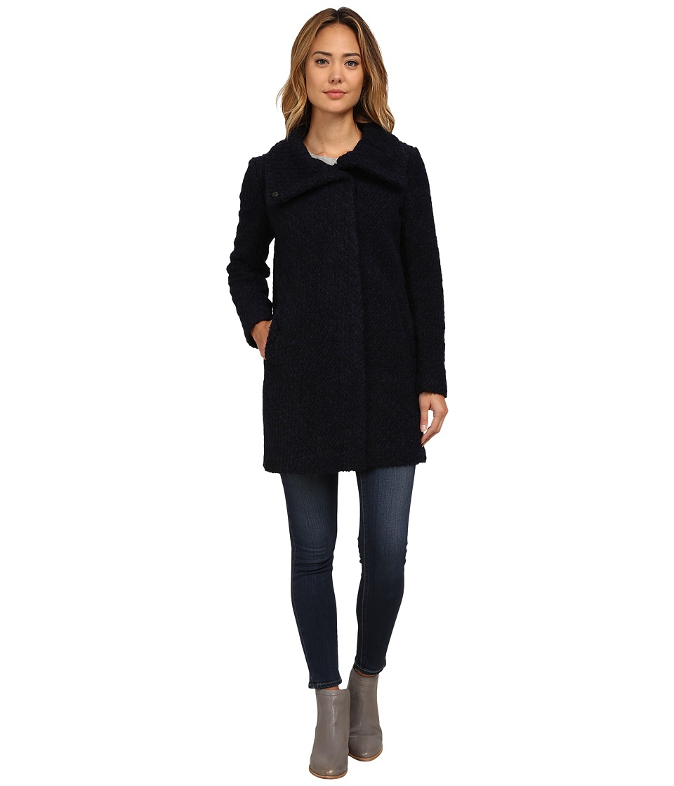 Cole Haan - Hidden Placket Button Front Stand Collar Coat (Navy/Black) Women's Coat