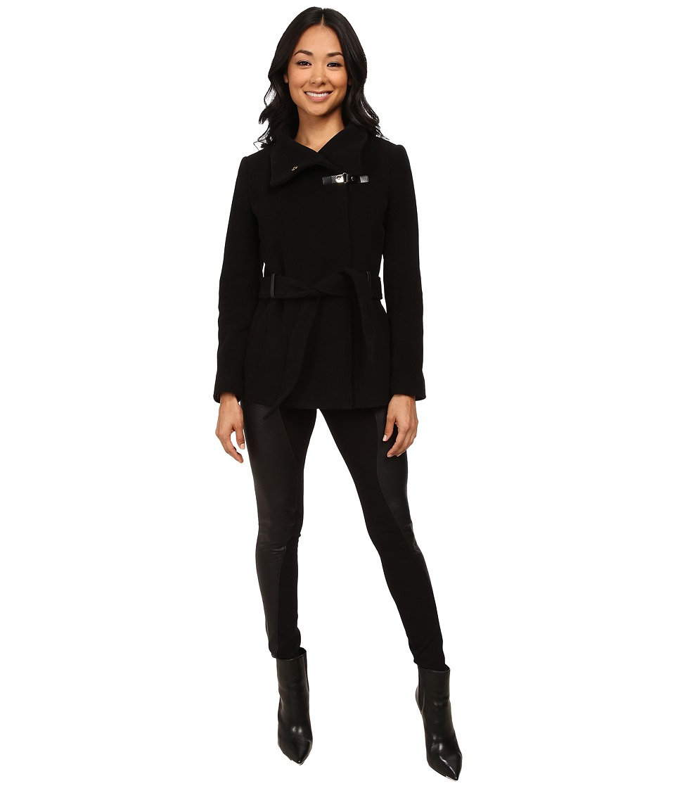 Cole Haan - Belted Double Breasted Jacket with Snap (Black) Women's Coat