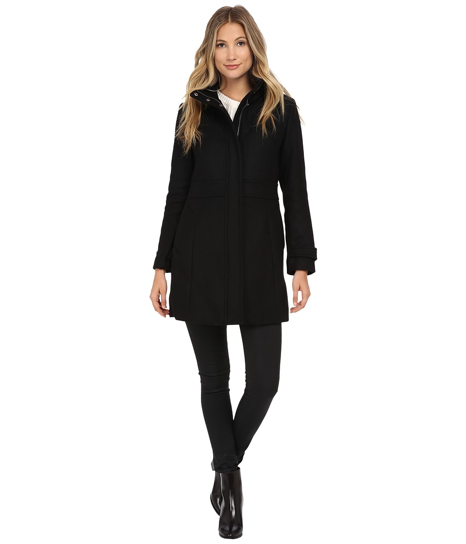 Cole Haan - Single Breasted Coat with Stand Collar (Black) Women