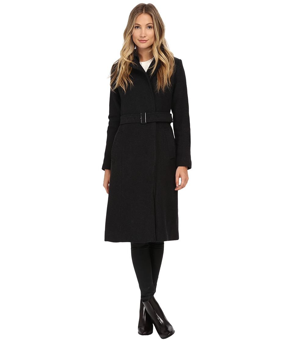 Cole Haan - Double Breasted Maxi Coat (Charcoal) Women's Coat