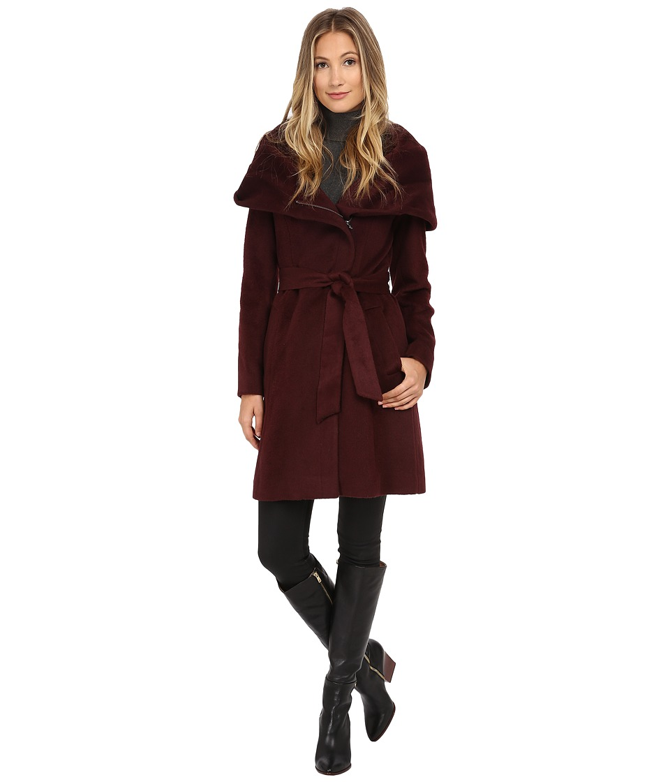 Cole Haan - Belted Coat with Oversized Hood (Zinfandel) Women's Coat