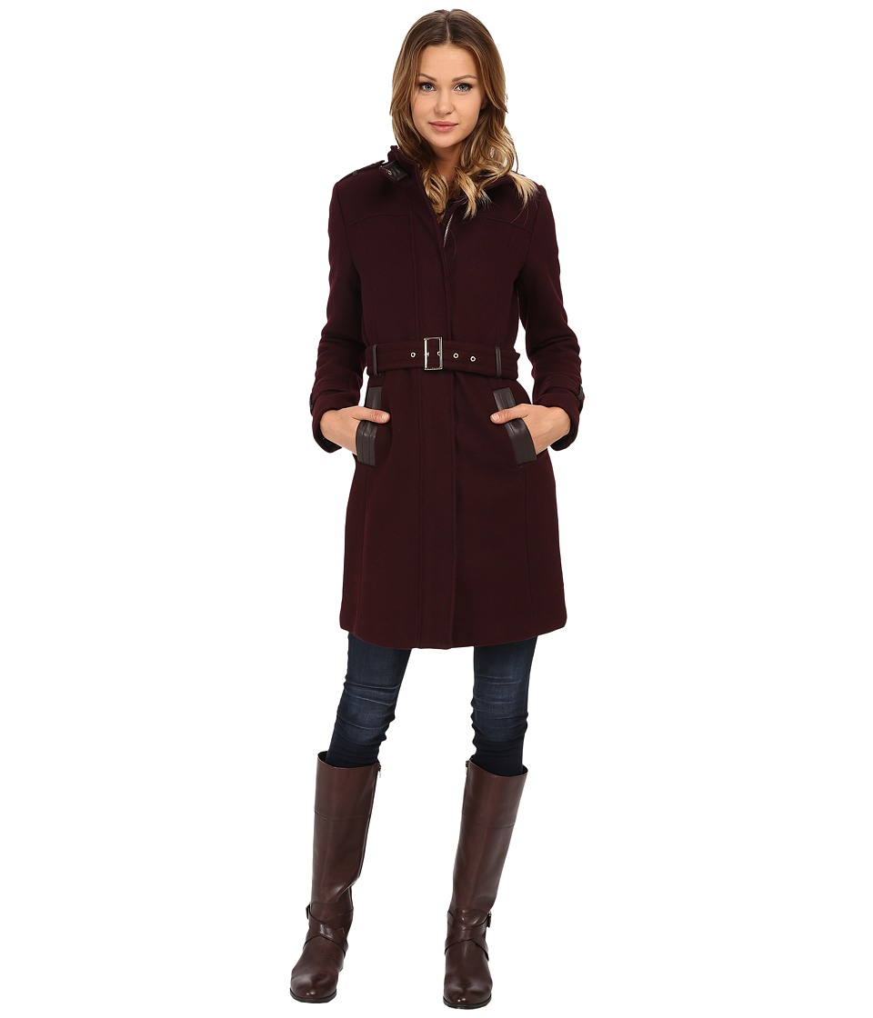 Cole Haan - Zip Front Stand Collar Coat (Bordeaux) Women's Coat