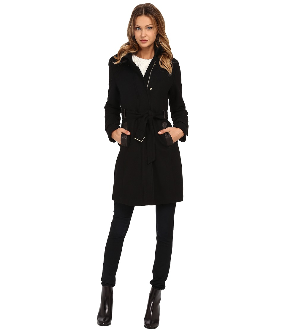 Cole Haan - Zip Front Stand Collar Coat (Black) Women's Coat