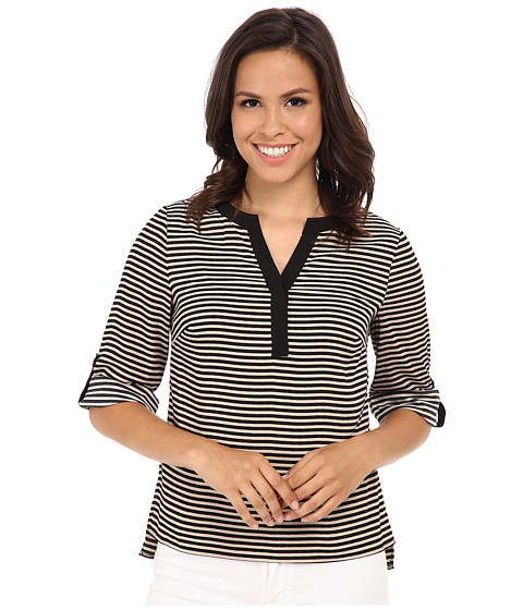 Calvin Klein - Striped Roll Sleeve Blouse (Khaki/Black) Women's Blouse