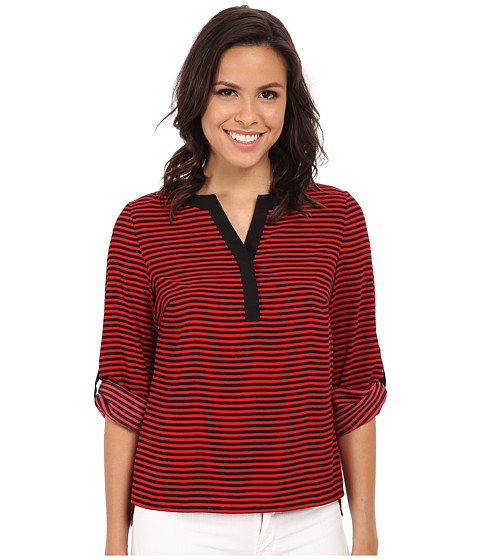 Calvin Klein - Striped Roll Sleeve Blouse (Red/Black) Women's Blouse