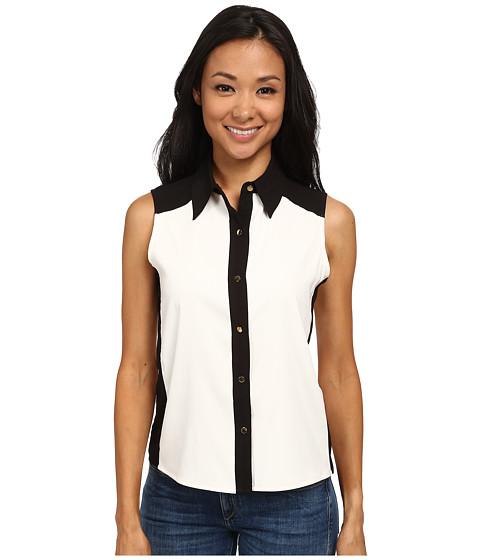 Calvin Klein - Sleeveless Button Down w/ Color Blocking (Cream/Black) Women