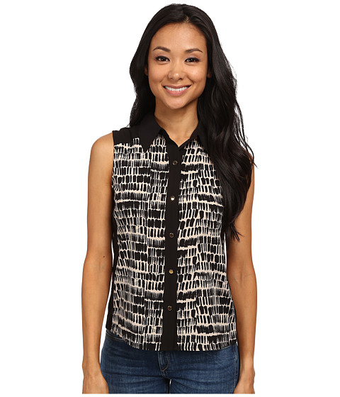 Calvin Klein - Abstract Printed Sleeveless Button Down w/ Color Blocking (Black/Khaki) Women's Sleeveless